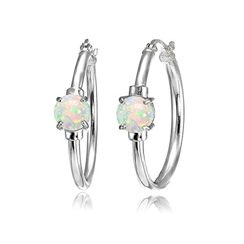 Sterling Silver Simulated White Opal Solitaire 25mm Hoop Earrings