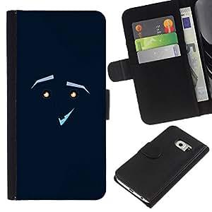 YiPhone /// Tirón de la caja Cartera de cuero con ranuras para tarjetas - CARA GRACIOSA - Samsung Galaxy S6 EDGE