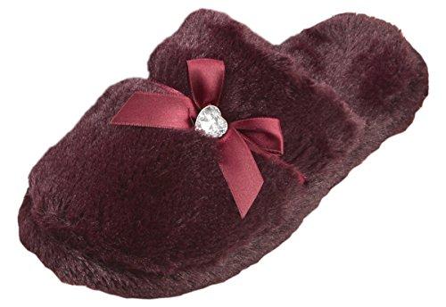 Forever Dreaming Womens Mule Slippers | Memory Foam Diamante | Sizes 3-8 | Faux Fur Slip On Burgundy aCW2b8s