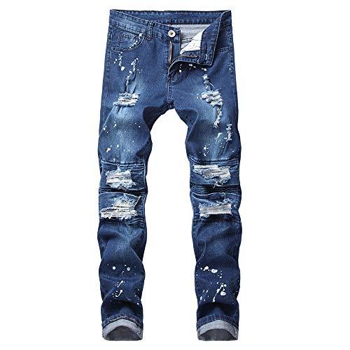 Hombre Pitillo Slim Delgados Rotos Hombre Pantalones Zarlle Azul A Para Elásticos De Mezclilla 2018 Vaqueros Ropa Baja Skinny Fit Cintura jeans Largos qPHOEnqf