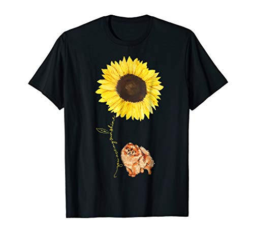 Pomeranian Dog Hippe Sunflower funny Pet lover Tshirt