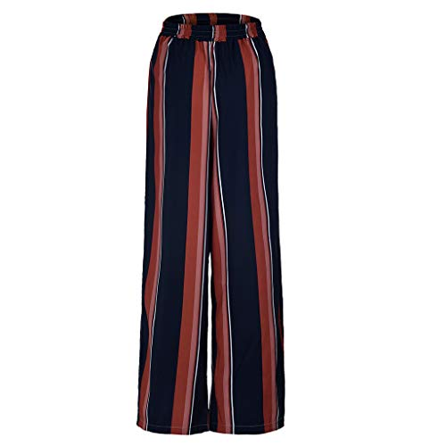 (Women Striped Trousers, JOYFEEL Ladies Relaxed Fit Pull-On Wide Leg Pants Elastic Waist Summer Casual Palazzo Pants Red)