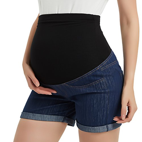 GINKANA Maternity Workout Shorts Denim Cotton Lounge Over Belly Pregnancy Shorts Summer Linen Pants Dark Blue