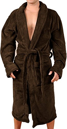 Wanted Men's Lightweight Plush Fleece Shawl Collar Kimono Robe (Brown, Small/Medium)