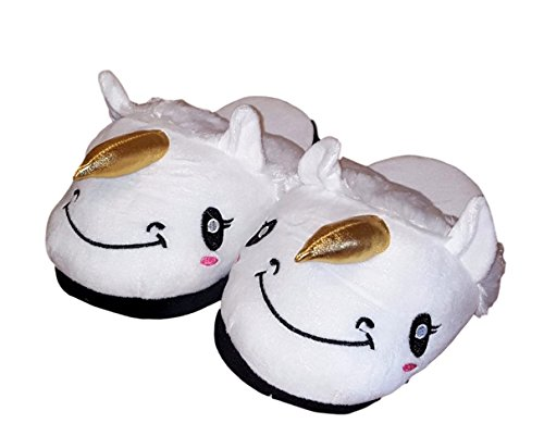 Womens Ladies Adult Unicorn Plush Slipper White PoKBFe0