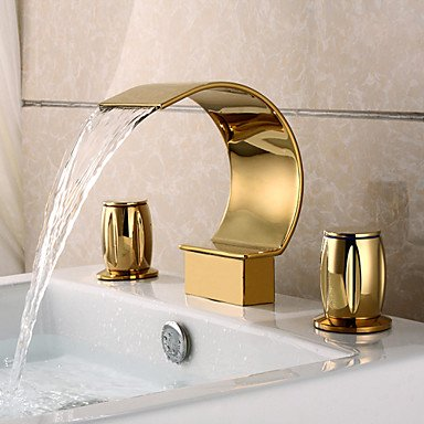 YZL Deluxe 3-piece waterfall faucet in the broad basin click gold finish