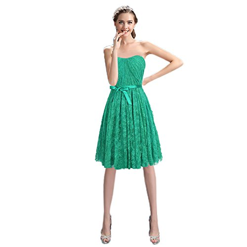 Gown Short Homecoming Prom Mini Dress Bridal Aurora Green Strapless Lace Tw7I68