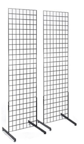 2' x 6' Gridwall Panel Tower with T-Base Floorstanding Display Kit, 2-Pack Black