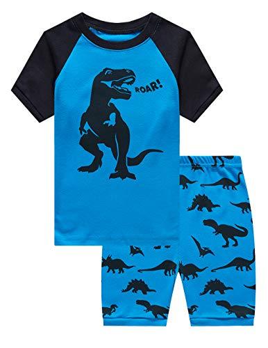 Family Feeling Big Boys Dinosaur Pajamas Short Sets 100% Cotton Kid Summer Pjs 8]()