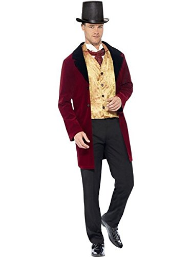 Smiffys Men's Edwardian Gent Deluxe Costume, Jacket, Mock Waistcoat and Cravat, Tales of Old England, Serious Fun, Size M, -
