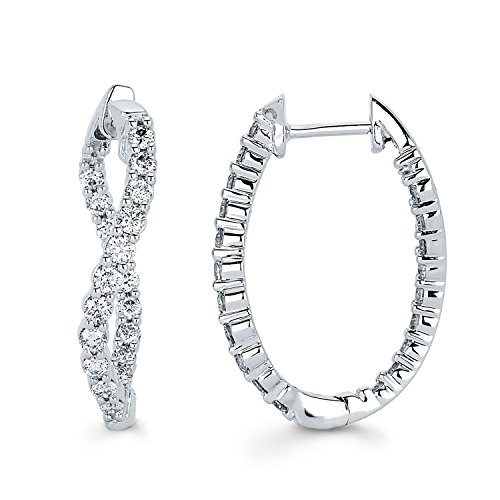 14K White Gold Diamond Twisted Inside-Out Hoop Earrings (1.50 cttw., I Color, I1 Clarity) 1'' by Boston Bay Diamonds