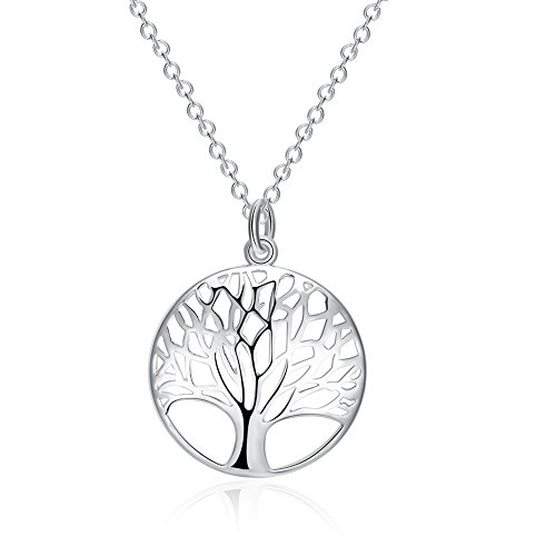 Sterling Silver Plated Tree of Life Drop Dangle Earrings for Women Jewelry Round Silver Earrings Studs, Best Mothers Day Gift Ideas (Necklace)