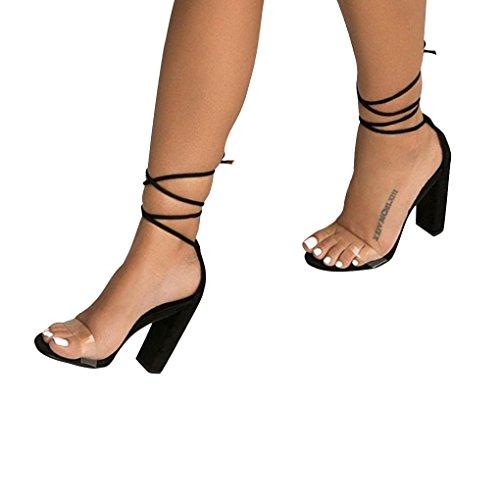 Nero Lacci Casuale Trasparenti Toe Sandals Partito Shoes Beach Moda Estate Sandali Scarpe A Donna Peep Minetom Tacco Eleganti Blocco URxT1a
