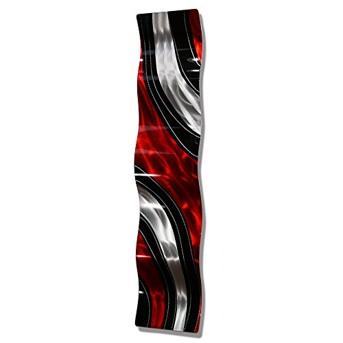 Red, Black and Silver Vibrant Red Metal Wall Accent