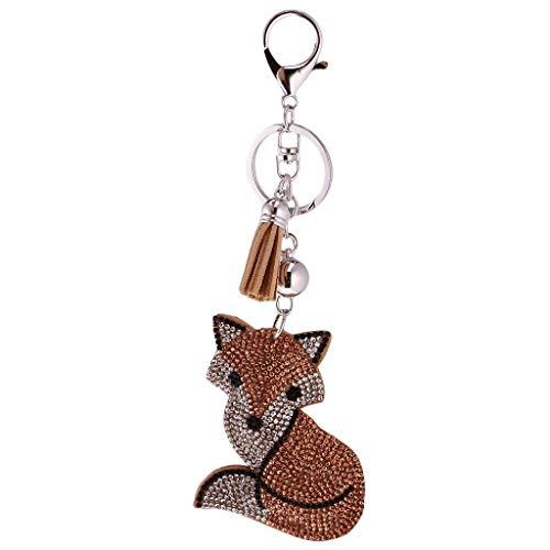 Fox Keychain - Crystal Rhinestone Charms Diamante Animals Eyes Charm Key Ring Pendant Key Chains Cute Purse Bag Gifts - Champagne Fox