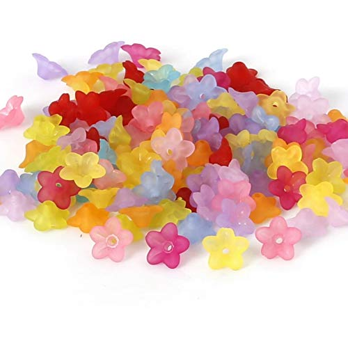 Assorted Multi-Color Mixed Frosted Acrylic Small Bell Flower Beads for Jewelry Making - 10mm x 5mm