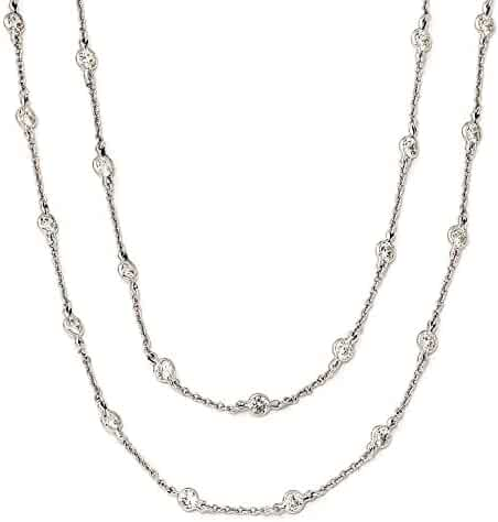 CZ Cat Chain Slide 22.25X10.25MM Rhodium-Plated Sterling Silver