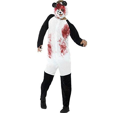 Smiffys Men's Deluxe Zombie Panda Costume, Black/White, Medium