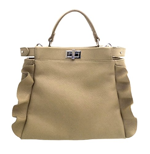 SUPERFLYBAGS Borsa Donna in vera pelle morbida + Rouge modello Volterra Made in Italy Taupe
