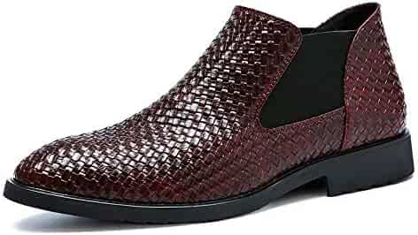 dee6ba7fa xiaochong Chelsea Boots Men Patent Leather Weave Slip on Outdoor Formal  Dress Casual Ankle Shoes
