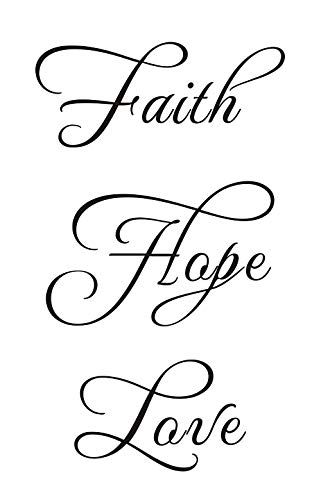 Word Transfer - Everysticker4u Faith Hope Love Home Bedroom Mural DIY Quote Saying Vinyl Wall Sticker Decals Transfer Removable Words Lettering Uplifting (Size1: 11.4