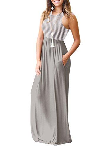 Mangas Mujer Casual sin Vestido para con Bolsillos Largo Gris Rojeam q1tvH