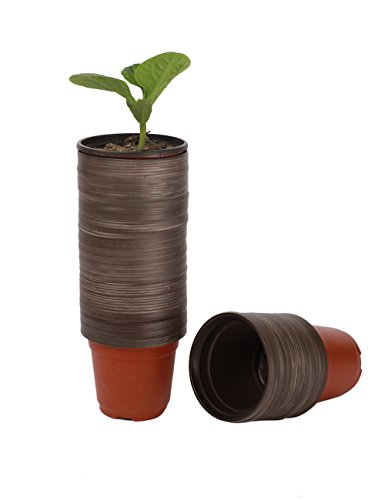 """100 Pcs 3.5"""" Plastic Plants Nursery Pots Seedlings Flower Plant Container Seed Starting Pots"""