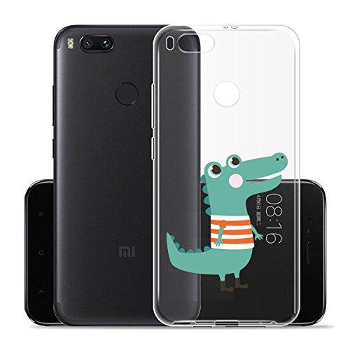 Funda para Xiaomi Mi 5X / Xiaomi Mi A1 , IJIA Transparente Pantalla Completa Rosa y púrpura en Forma de Corazón TPU Silicona Suave Cover Tapa Caso Parachoques Carcasa Cubierta para Xiaomi Mi 5X / Xiao WM128