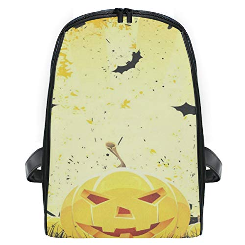 Backpack Grungy Halloween With Pumpkins And Bats Personalized Shoulders Bag Classic Lightweight Daypack]()