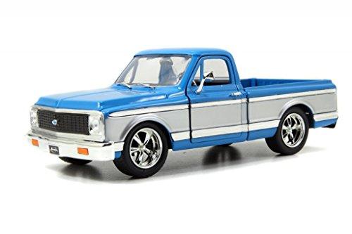 Jada 1972 Chevy Cheyenne Pickup Truck 1/24 Scale Diecast Model Car Blue/Silver - Diecast Model