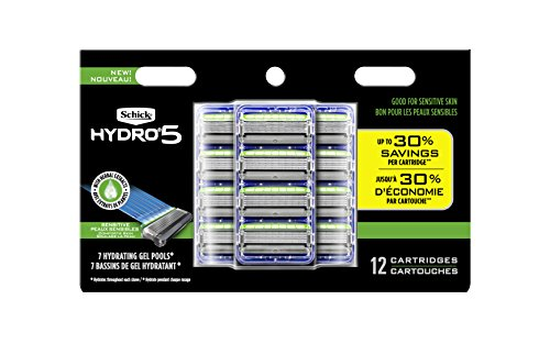 Schick Hydro Sense Sensitive Mens Razor Blade Refill with Sensitive Gel, Includes 12 Razor Blades Refills (Herbal Energizer)