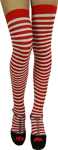 ToBeInStyle Women's Striped Two Tone Thigh Hi Stockings - One Size - Red W/White Stripes