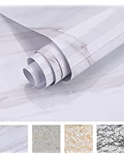 Oxdigi Marble Contact Paper 24 x 196 inches Self Adhesive Peel & Stick Wallpaper for Kitchen Countertop Cabinet Furniture Waterproof PVC Removable White