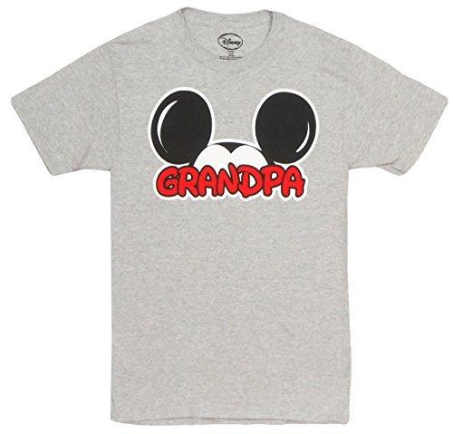 Disney Adults Mickey Mouse Grandpa Fan Grey Large T-Shirt