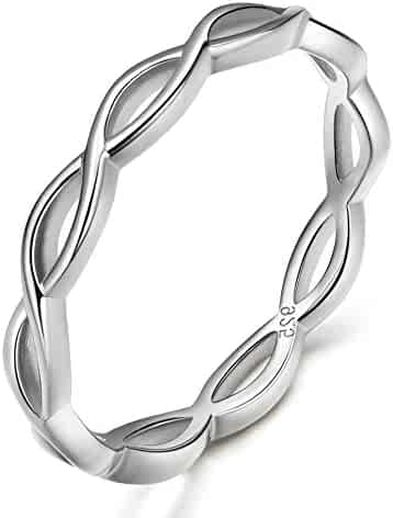 8078d8f8e EAMTI 925 Sterling Silver Celtic Knot Ring Simple Criss Cross Infinity  Wedding Band for Women Size