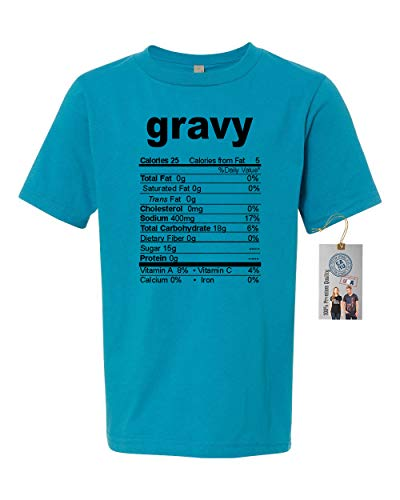 (Gravy Nutrional Facts Thanksgiving Youth Short Sleeve Shirt Turquoise XS)