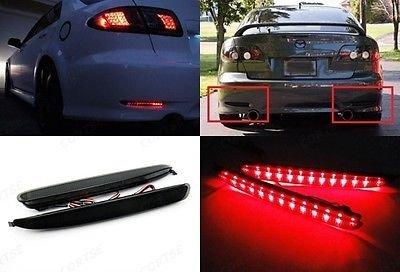 LEDIN Black Smoked Lens LED Bumper Reflector Tail Brake Stop Light 03-08 Mazda6 Atenza
