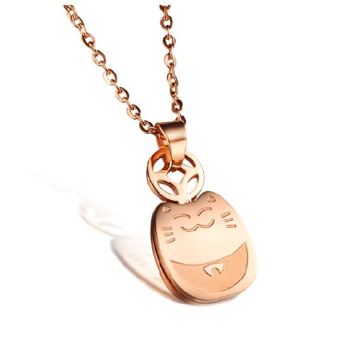 -neko Fortune Cats Lucky cat Rose Gold Plated Pendant Necklace Korean Love Style in a Gift Box (Lucky Gold Plated Necklace)