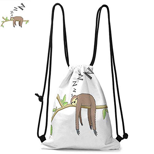 Sloth Durable Drawstring Backpack Arboreal Mammal Sleeping on Branch in Forest Lazy Mood Resting Relaxing ThemeSuitable for carrying around W13.4 x L8.3 Inch Grey Green Brown
