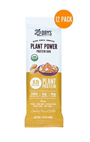 Plant Fiber (22 Days Nutrition Organic Protein Bar, Chunky Peanut Butter, 12 Count | Plant Based Protein Bars, Gluten Free, Vegan, Soy Free, Real Food, Dairy Free, 15g Protein, Low Sugar (5g), Fiber (8g))
