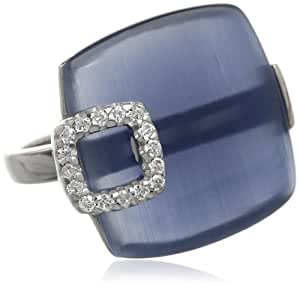 Sterling Silver 11 cttw Simulated Blue Cat's Eye, and Cubic Zirconia Ring, Size 6