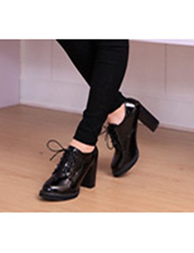 GGX/ Damenschuhe-High Heels-Lässig-Lackleder-Blockabsatz-Absätze-Schwarz / Burgund black-us8 / eu39 / uk6 / cn39