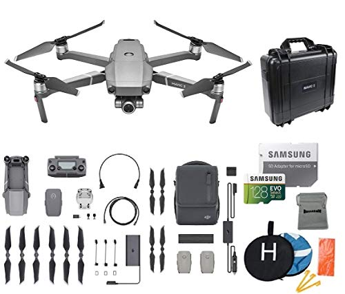 DJI Mavic 2 Zoom Fly More Kit Combo Drone Quadcopter Bundle, 128GB MicroSD Card Supports 4K Video, Landing Pad, Waterproof Hard Carrying Case