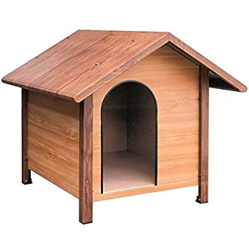 Caseta para perros galvanizada efecto madera. Medidas ext. 80x83x75 cm. Medidas