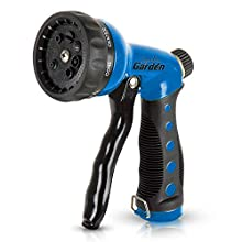 Signature Garden Heavy-Duty Nozzle, Comfort-Grip 8 Different Spray Patterns for Watering Lawns, Washing Cars & Pets (Blue)