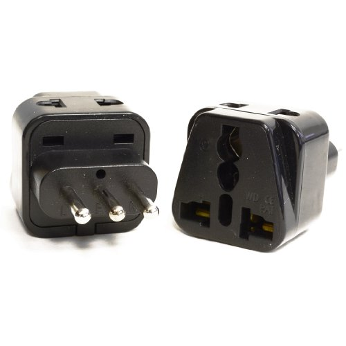 OREI 2 in 1 USA to Italy Adapter Advertisement (Type L) - 2 Pack, Black