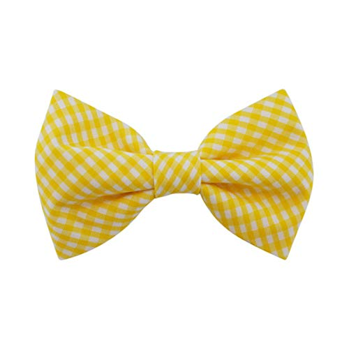 (Yellow Gingham - Dog Cat Pet Bow Tie Bowtie Collar Accessory for Large Dogs Handcrafted Bow Tie)