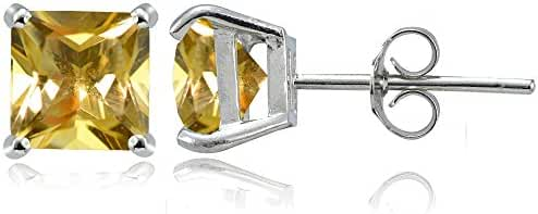 Sterling Silver Genuine, Created or Simulated Birthstone Gemstone 7mm Square Stud Earrings