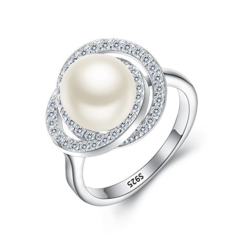 EleQueen 925 Sterling Silver CZ 9mm AAA Cream Freshwater Cultured Pearl Rose Flower Bridal Cocktail Ring Size 7 ()