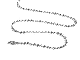 ljeals Nickel Plated Ball Chain Necklace 24 Inches 2.4mm Size #3 Pack of 100